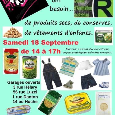 Garages solidaires de Robien avec les restos du Coeur le samedi 18 septembre (14-17h)